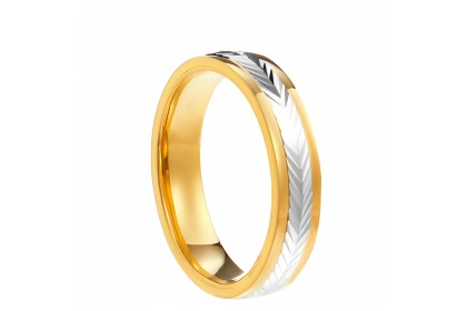 Oro Italia 916 White and Yellow Gold Ring (2.97) GR4324-BI
