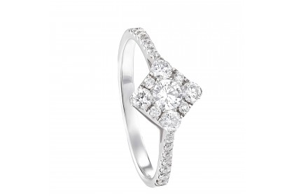 Round Diamond Cluster and Micro Set Straight-shank Ring in 750/18K White Gold 23481