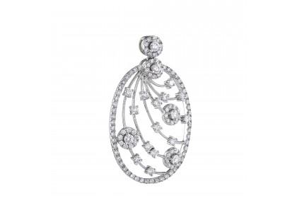 Round Diamond Halo Pendant in 750/18K White Gold 35016