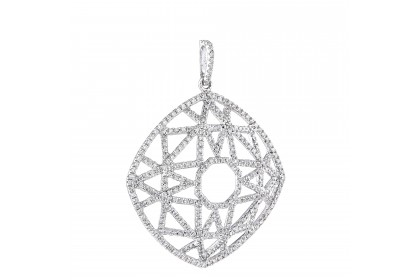 Facets Collections Round Diamond Pendant in 750/18K White Gold 35105
