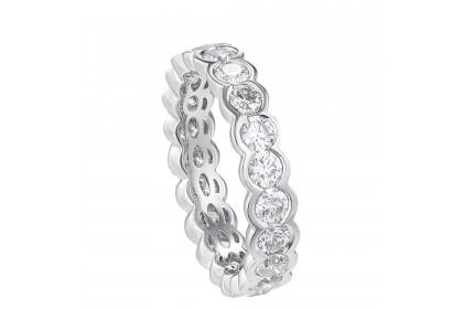 Round Cut Semi Bezel Eternity Diamond Ring in 750/18K White Gold 50966RG