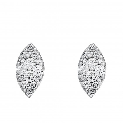 Marquise Shape Round Diamond Earrings in 375/9K White Gold 456481120