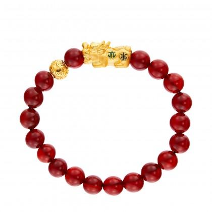 Pixiu Gemstone Bracelet in 999/24K Gold WWGB188