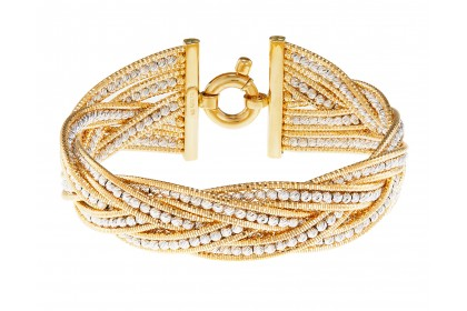 Oro Italia 916 Bassano White and Yellow Gold Bangle (45.74G) GB8216-BI