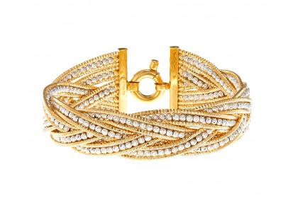 Oro Italia 916 Bassano White and Yellow Gold Bangle (41.88G) GB8216-BI