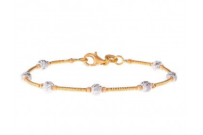Oro Italia 916 White, Yellow and Rose Gold Bangle (4.29G) GB86820820-TI