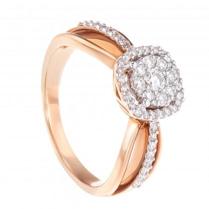 Polaris Split-shank Round Diamond Ring in 750/18K White and Rose Gold 24669(R)