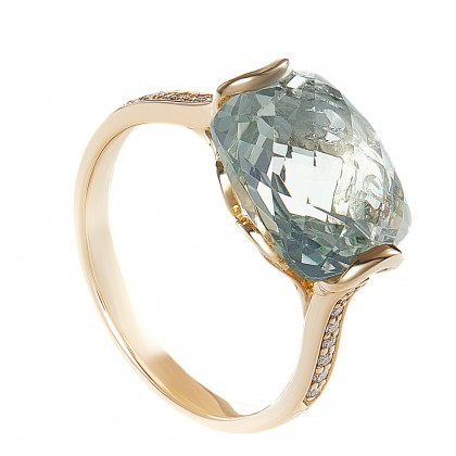 Cushion Cut Green Amethyst and Round Diamond Ring in 375/9K Rose Gold 260460321