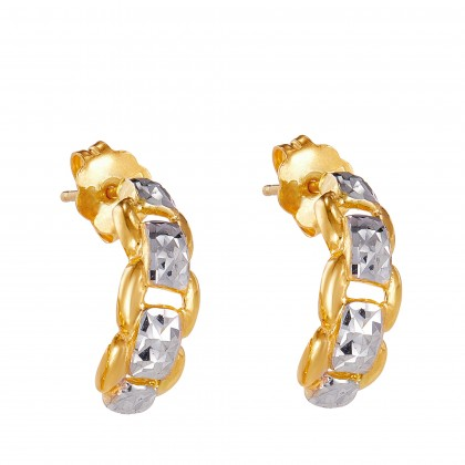 Layla White and Yellow Gold Earrings, 916 Gold (3.25G) ER17130321(C)
