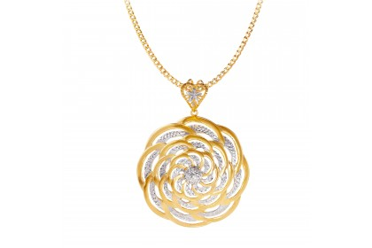 Armin White and Yellow Gold Pendant, 916 Gold (24.50G) PT88920321(L)
