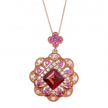 Square Cut Garnet and Ruby Round Diamond Necklace in 375/9K Rose Gold 456620321(N)