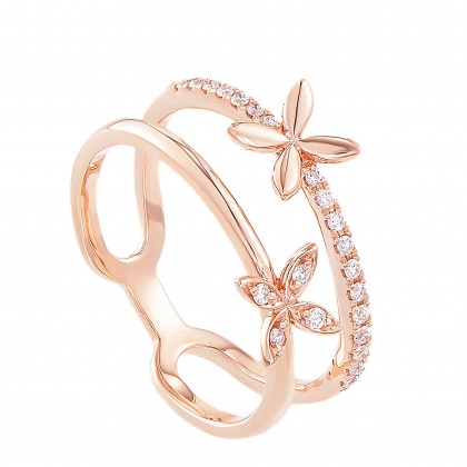 Dwa Double Row Split-shank Floral Round Diamond Ring in 375/9K Rose Gold 260870521