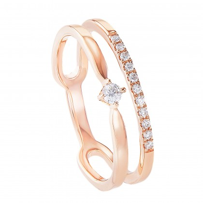 Dwa Double Row Split and Pinched Band Round Diamond Ring in 375/9K Rose Gold 260880521