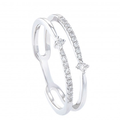 Dwa Double Row Split-shank Round Diamond Ring in 375/9K White Gold 260900521