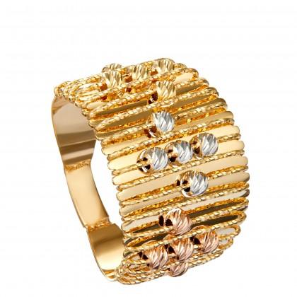 Oro Italia 916 Sicilia White, Yellow and Rose Gold Ring (5.92G) GR44311120-TI