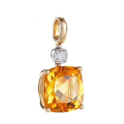 Cushion Cut Citrine and Round Diamond Necklace in 375/9K Yellow Gold 260490321(N)