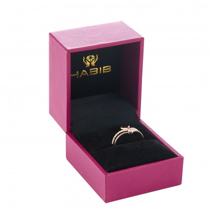 Dwa Double Row Split-shank Heart Shape Round Diamond Ring in 375/9K Rose Gold 260700421(RG)