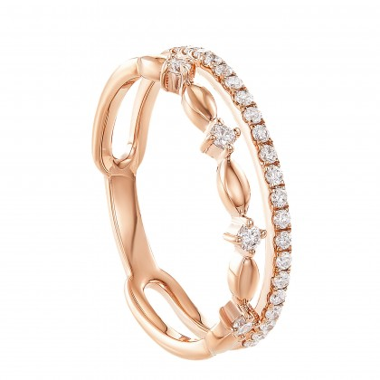 Dwa Double Row Pinched Round Diamond Ring in 375/9K Rose Gold 260710421(RG)