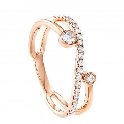 Dwa Double Row Bezel Set Round Diamond Ring in 375/9K Rose Gold 260720421(RG)