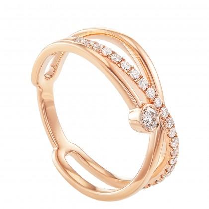 Dwa Double Row Bezel Set Cross-Split Round Diamond Ring in 375/9K Rose Gold 260730421(RG)