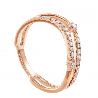 Dwa Double Row Micro Set Round Diamond Ring in 375/9K Rose Gold 260740421(RG)