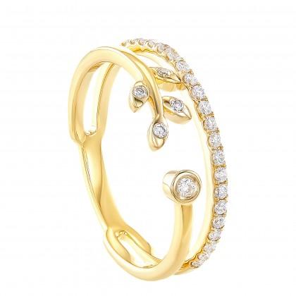 Dwa Double Row Bezel Set Round Diamond Ring in 375/9K Yellow Gold 260750421(YG)