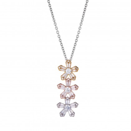 Round and Baguette Diamond Necklace in 750/18K White, Yellow and Rose Gold 260260321(N)