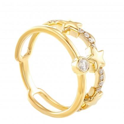 Dwa Double Row Bezel Set Stars Round Diamond Ring in 375/9K Yellow Gold 260760421(YG)