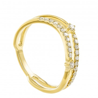 Dwa Double Row Micro Set Round Diamond Ring in 375/9K Yellow Gold 260740621(YG)