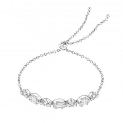 Round and Baguette Bolo Diamond Bracelet in 375/9K White Gold 680070321