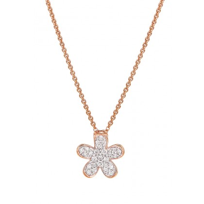 Pave Round Diamond Necklace in 375/9K Rose Gold 456600321(N)