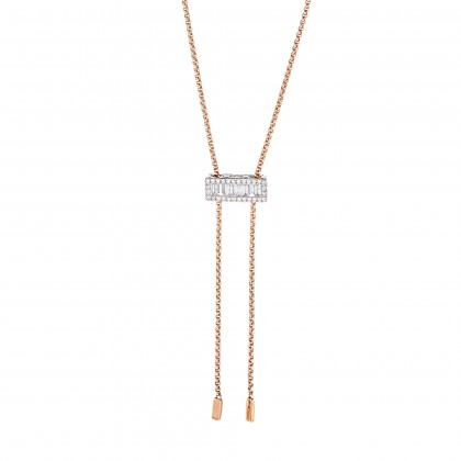 Channel Set Round and Baguette Diamond Necklace in 750/18K White and Rose Gold 558330321