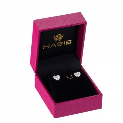 Heart Shaped Round Diamond Earrings in 375/9K White Gold 456451120