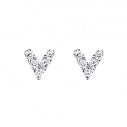 V Collection Round Diamond Earrings in 375/9K White Gold 456511220(WG)