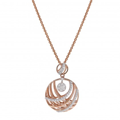 Adore Round Diamond Necklace in 375/9K Rose Gold 558280321