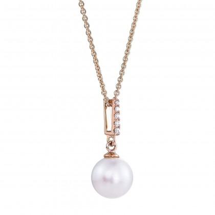 Earla Pearl Diamond Necklace in 375/9K Rose Gold 558480521