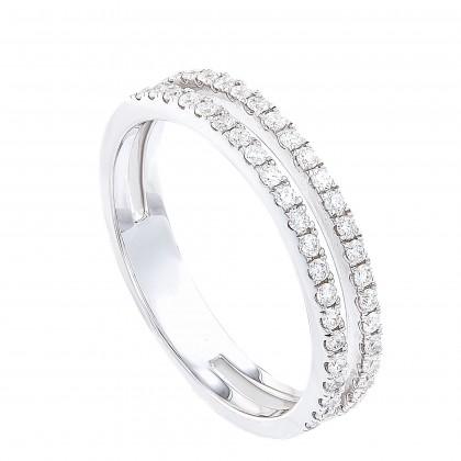 Dwa Double Row Micro Set Round Diamond Ring in 375/9K White Gold 260250321(WG)-9C