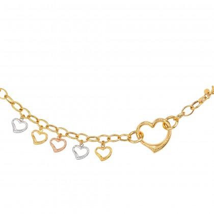 Oro Italia 916 Amore White, Yellow and Rose Gold Bracelet (11.03G) GW36460720-TI