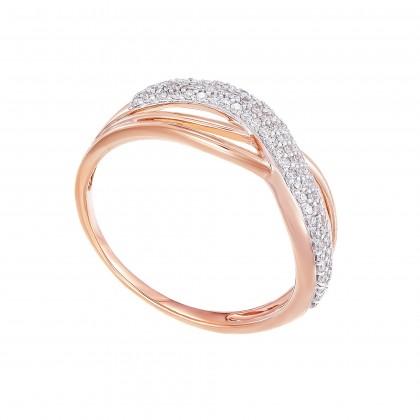 Pave Set Round Diamond Infinity Ring in 375/9K Rose Gold 24815