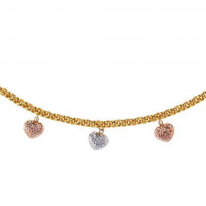 Oro Italia 916 Amore White, Yellow and Rose Gold Bracelet (12.79G) GW3398-TI