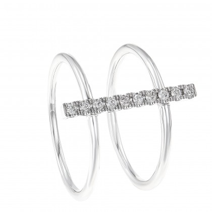 Young Collection Round Diamond Ring with Dual Band Style in 375/9K White Gold 258950820