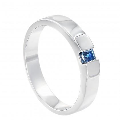 Blue Sapphire Diamond Men's Ring in 925/Palladium A0558(PLD)