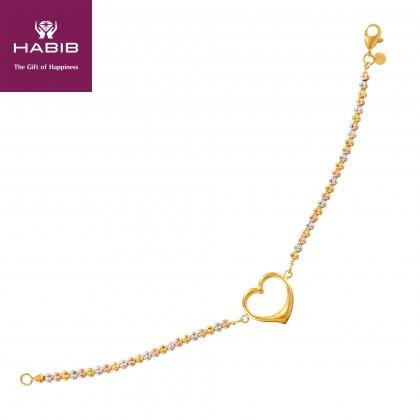 Oro Italia 916 Amore White, Yellow and Rose Gold Bracelet (6.81G) GW37041220-TI