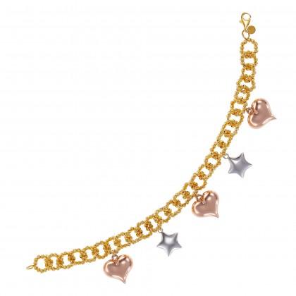 Oro Italia 916 Amore White, Yellow and Rose Gold Bracelet (21.61G) GW37240221-TI