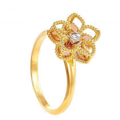 Oro Italia 916 White, Yellow and Rose Gold Ring (4.51G) GR45710321-TI