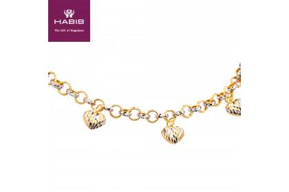 HABIB Adawiyah White and Yellow Gold Bracelet, 916 Gold (15.46G)