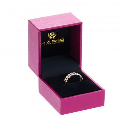 Round Cut Multi-coloured Gemstones and Diamond Split Shank Ring in 375/9K Yellow Gold 258830620