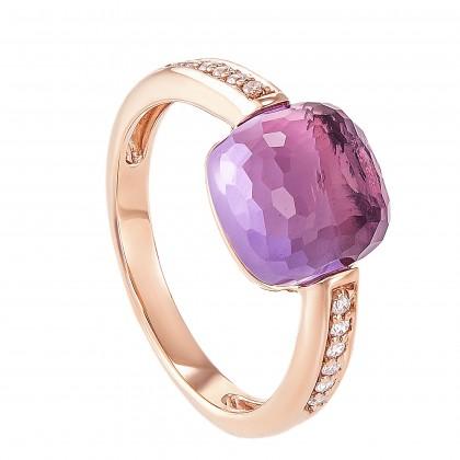 Amethyst Round Diamond Ring 375/9K Rose Gold 260450321