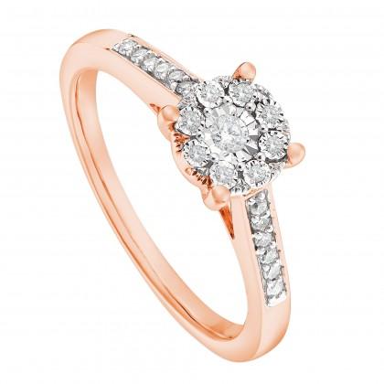 Iris Diamond Ring in 375/9K Rose Gold 24616