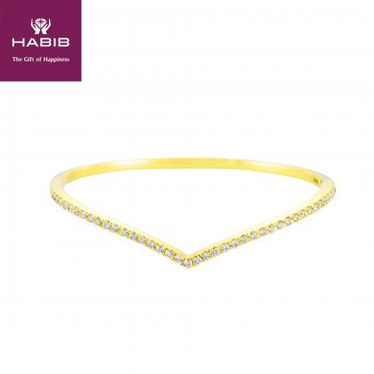 V-Shape Diamond Bangle in 375/9K Yellow Gold 25797(B)